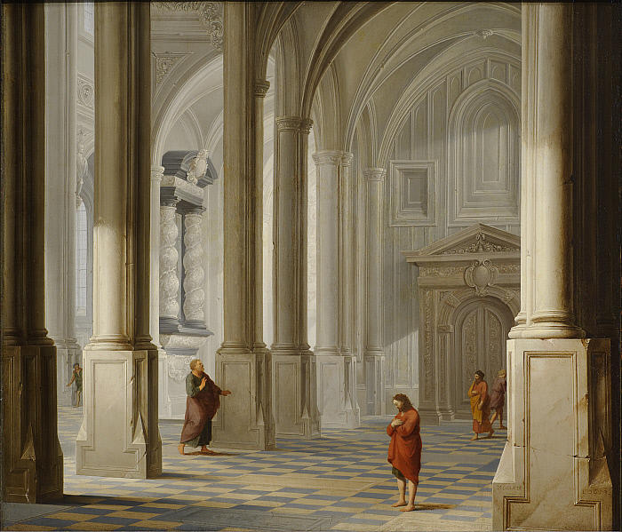 Dirck van Delen, Church Interior with the Parable of the Pharisee and the Publican