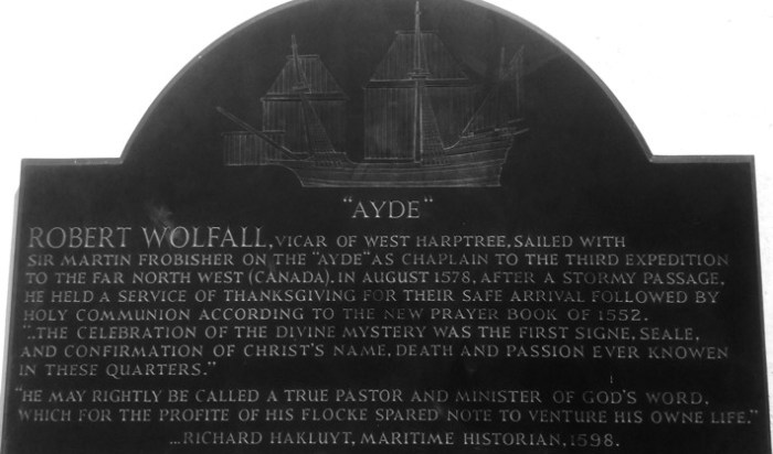 Parish of West Hartree, Robert Wolfall Commemorative Plaque
