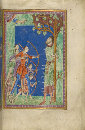 Martyrdom of Edmund of England, Illuminated Miniature from The Life and Miracles of St. Edmund
