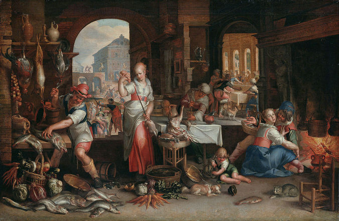 Joachim Wtewael, Kitchen Interior with the Parable of the Great Supper