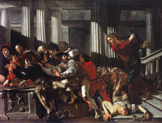 Cecco del Caravaggio, Christ Drives Moneychangers from the Temple