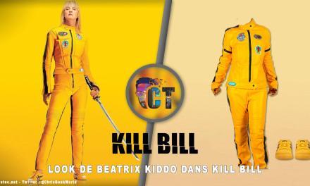 Look de Uma Thurman dans Kill Bill ( Combinaison jaune et Sneakers Onitsuka Tiger Mexico 66 jaune )