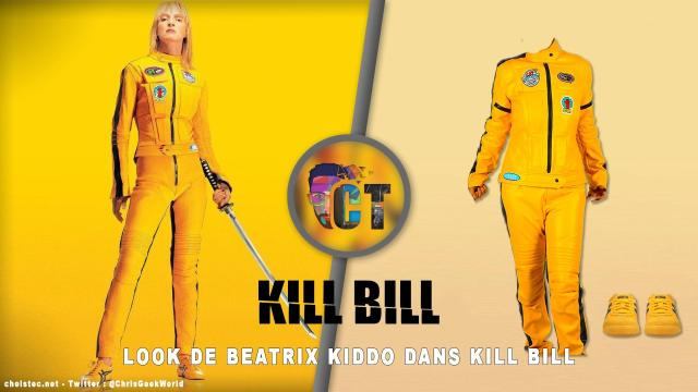 Look de Uma Thurman dans Kill Bill ( Combinaison jaune et Sneakers Onitsuka Tiger Mexico 66 jaune )