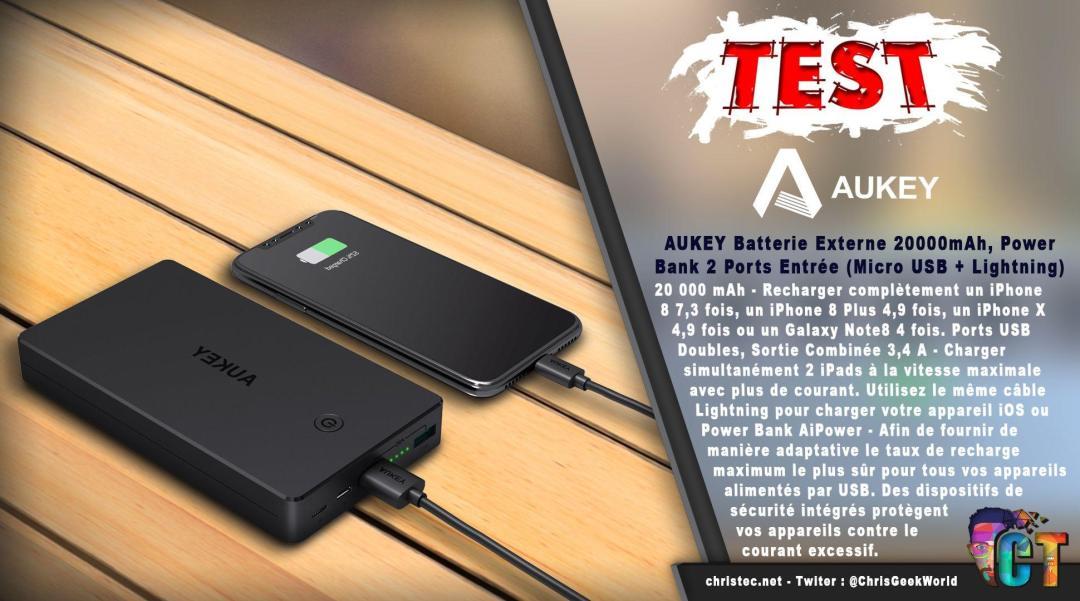 image en-tête Test Aukey Batterie 20000mah