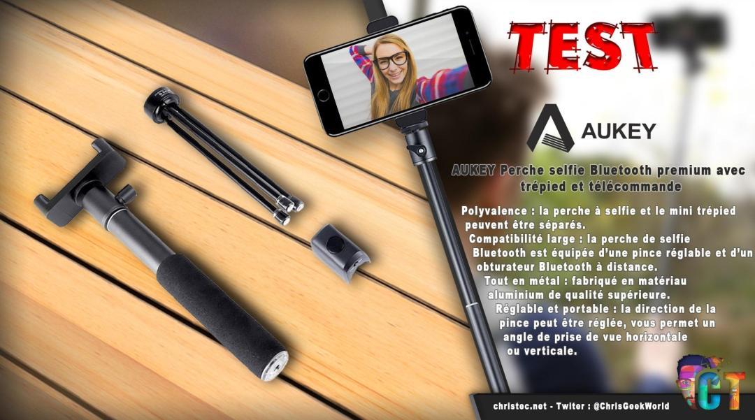 image en-tête Test de la perche à selfie Bluetooth avec trépied et télécommande d'Aukey