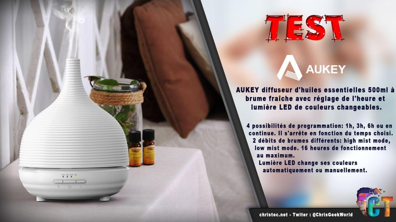 Test diffuseur d'huiles essentielles à brume fraîche AUKEY avec 7 couleurs de LEDs