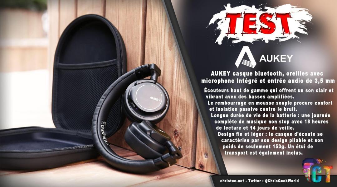 image en-tête test du casque bluetooth et pliable d'aukey avec microphone intégré