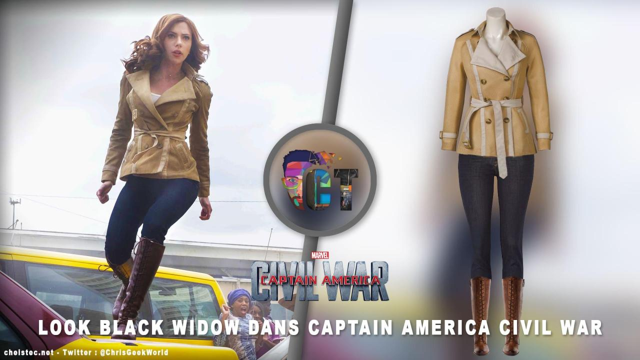 "Look de ""Black Widow"" Natasha Romanoff Captain America Civil War ( jeans, Veste et bottes )"