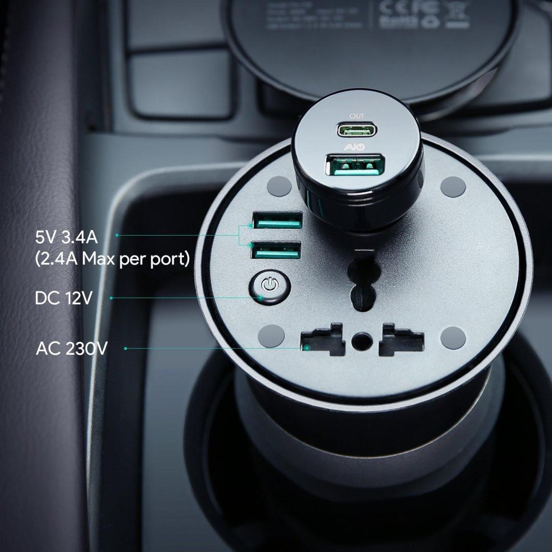image test onduleur Aukey 200 w, dc 12 v à ac 230 v avec 2 ports usb pour voiture 13