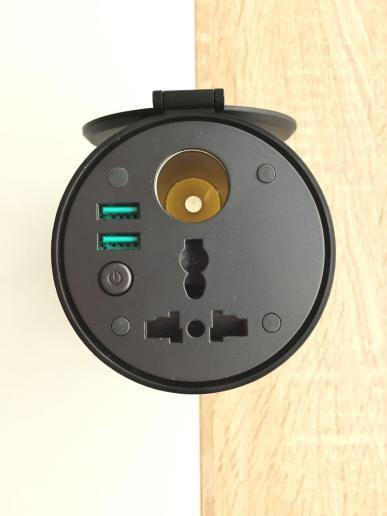 image test onduleur Aukey 200 w, dc 12 v à ac 230 v avec 2 ports usb pour voiture 5