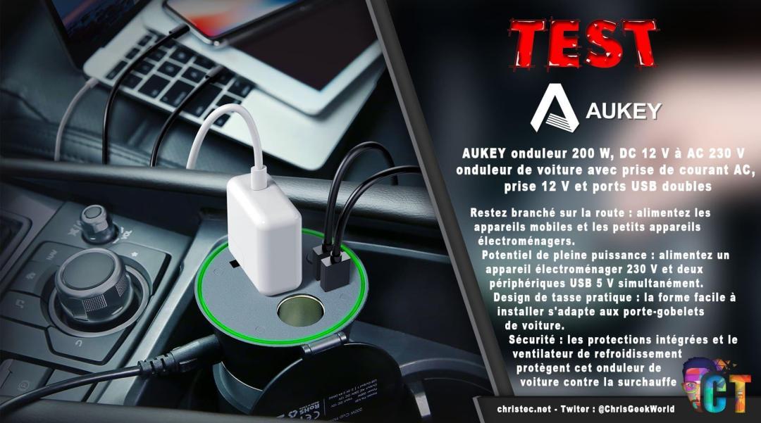 image en-tête test onduleur Aukey 200 w, dc 12 v à ac 230 v avec 2 ports usb pour voiture