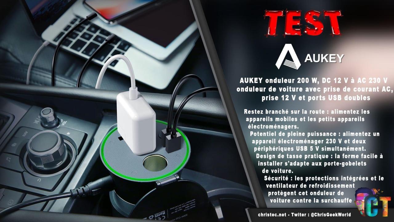 Test de l'onduleur Aukey 200 W, DC 12 V à AC 230 V avec 2 ports USB pour votre voiture