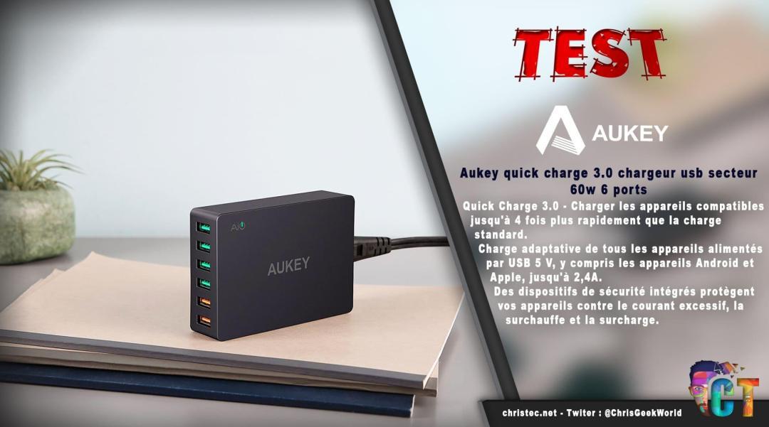 image en-tête Test du chargeur de voyage Aukey quick charge 6 ports USB 3,0 60W