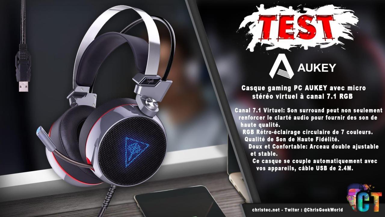 Test du casque gaming PC et consoles Aukey stéréo virtuel 7.1 RGB avec micro