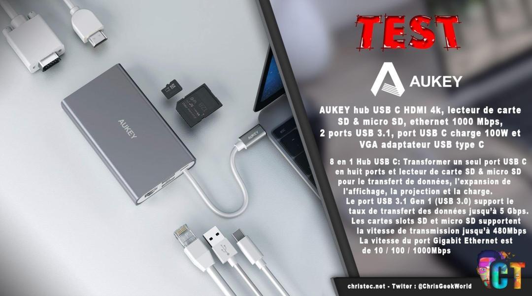 image en-tête test du hub CB-C55 adaptateur USB type C multi-port 8 en 1 de Aukey