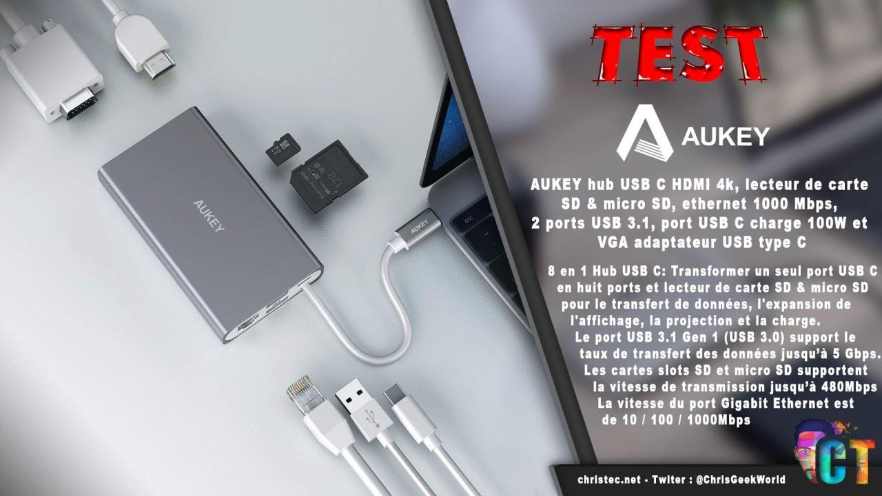 Test du hub CB-C55 adaptateur USB type C multi-port8 en 1 de Aukey