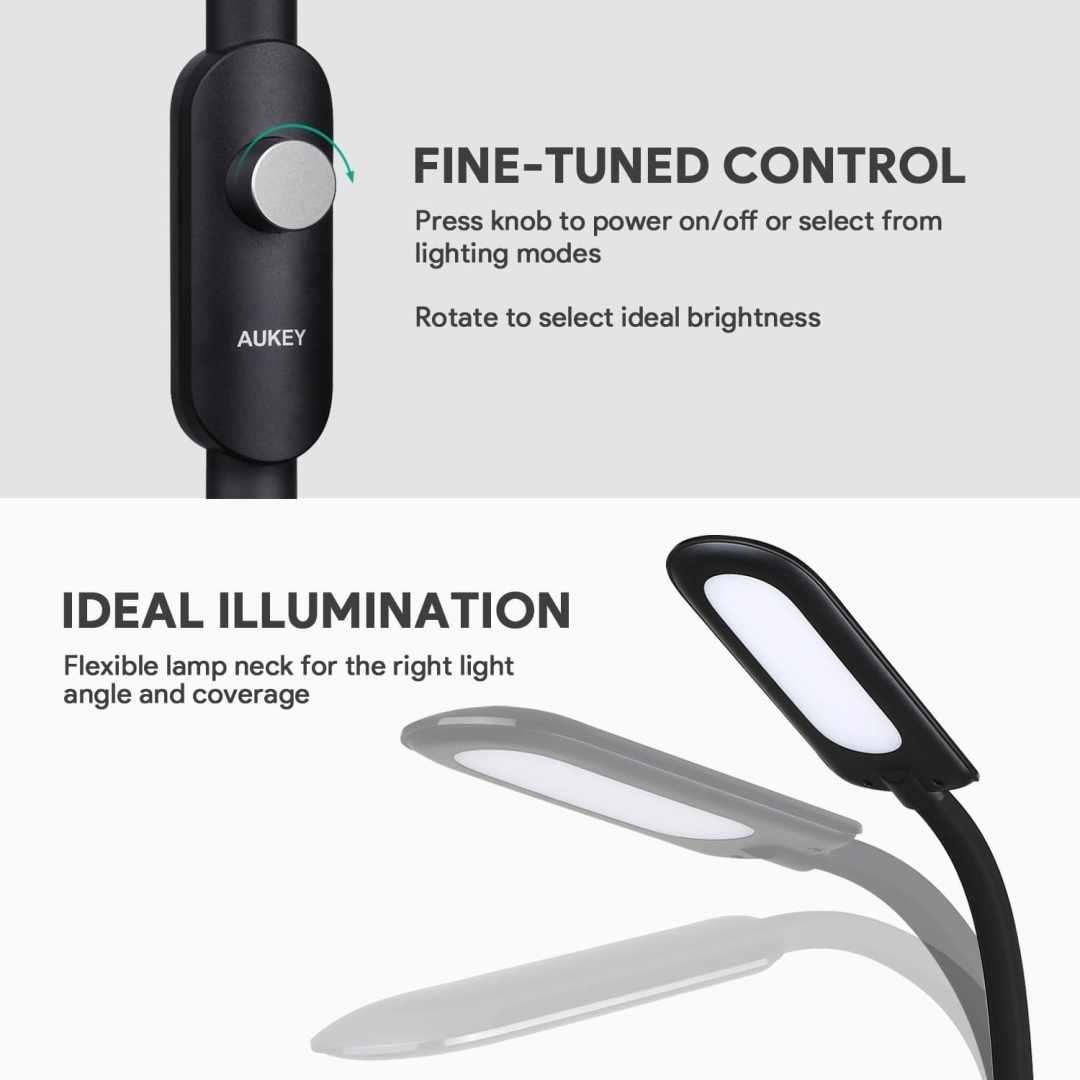 image test de la lampe sur pied à LED Aukey avec 3 modes d'éclairage 14