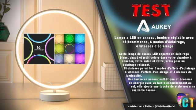 Test de la lampe à LED multicolore en anneau d'Aukey, télécommande, 6 modes d'éclairage, 4 vitesses d'éclairage