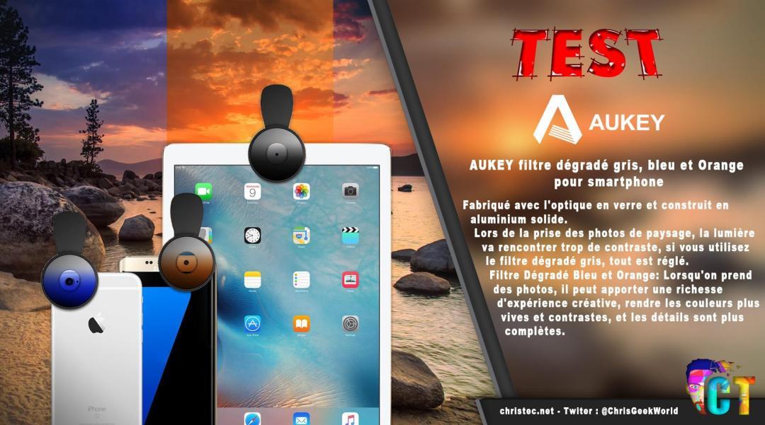 image en-tête Test du kit de 3 lentilles Aukey à filtre dégradé gris, bleu, et orange pour smartphone