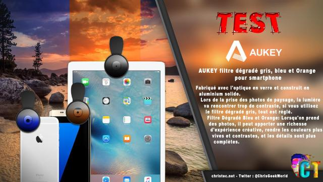 Test du kit de 3 lentilles Aukey à filtre dégradé gris, bleu, et orange pour smartphone