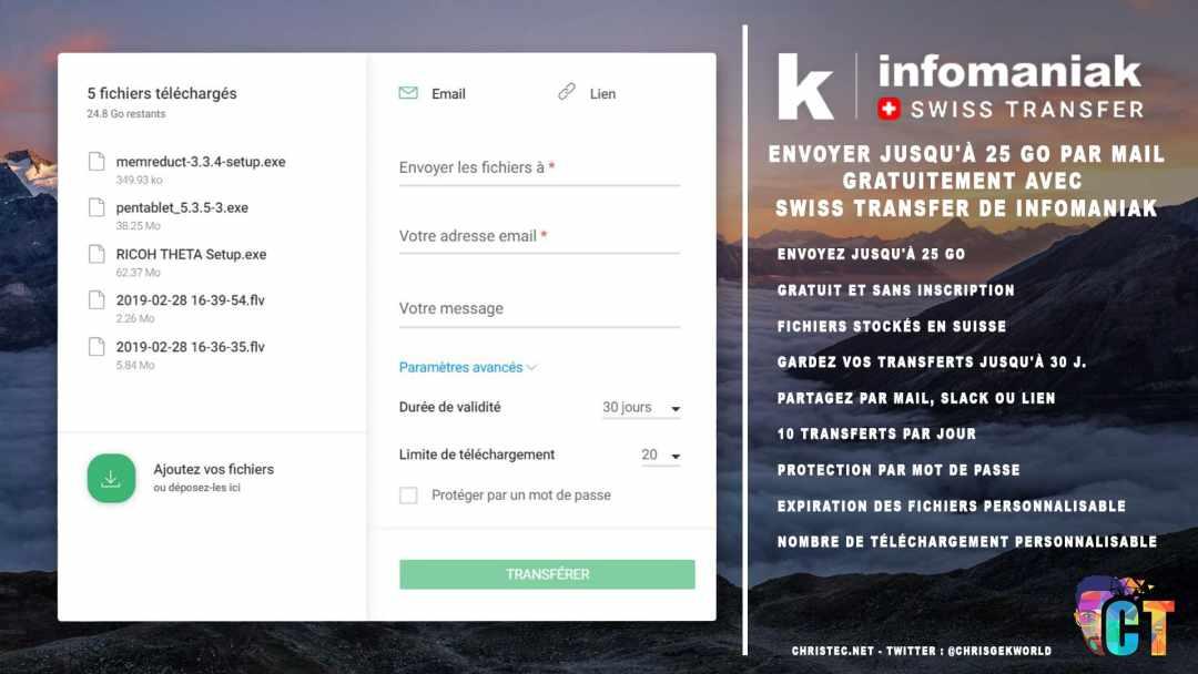 image en-tête Envoyer jusqu'à 25 Go par mail gratuitement avec Swiss Transfer de Infomaniak