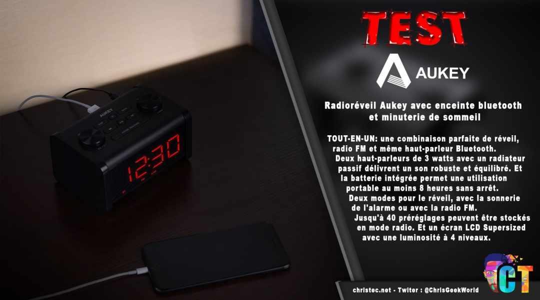 image en-tête Test du radioréveil Aukey avec enceinte Bluetooth et minuterie de sommeil