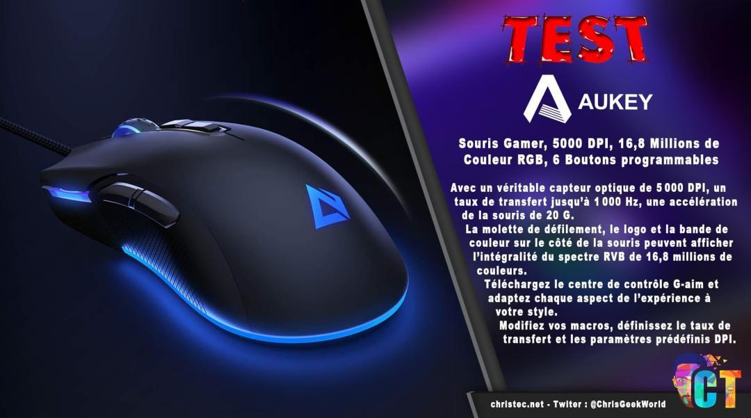 image en-tête Test de la souris gamer Aukey, 5000 DPI, RGB 16,8 Millions de Couleur, 6 Boutons programmables.
