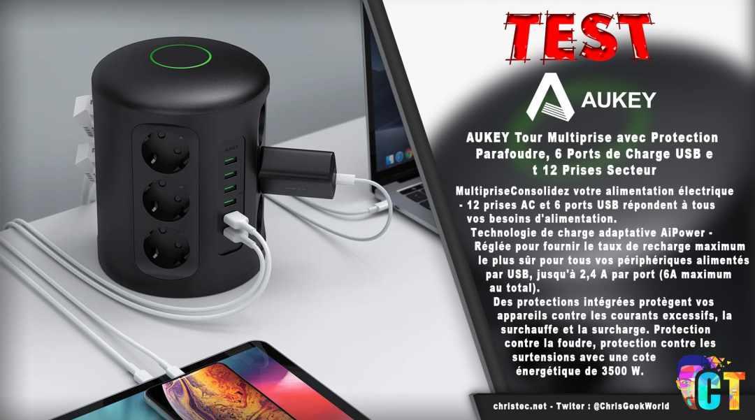 image en-tête Test de la tour Multiprise Aukey avec protection parafoudre 6 Ports USB et 12 Prises Secteur