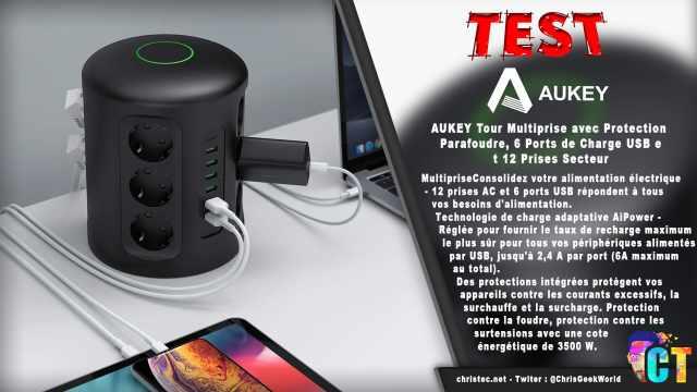 Test de la tour Multiprise Aukey avec protection parafoudre 6 Ports USB et 12 Prises Secteur