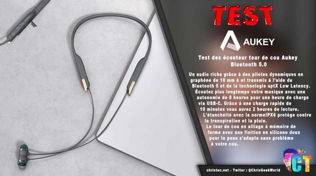 image en-tête test des écouteur tour de cou Aukey EP-B33-08 Bluetooth 5.0