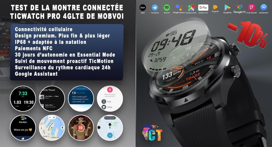 image en-tête Test de la montre connectée Ticwatch Pro 4GLTE de Mobvoi