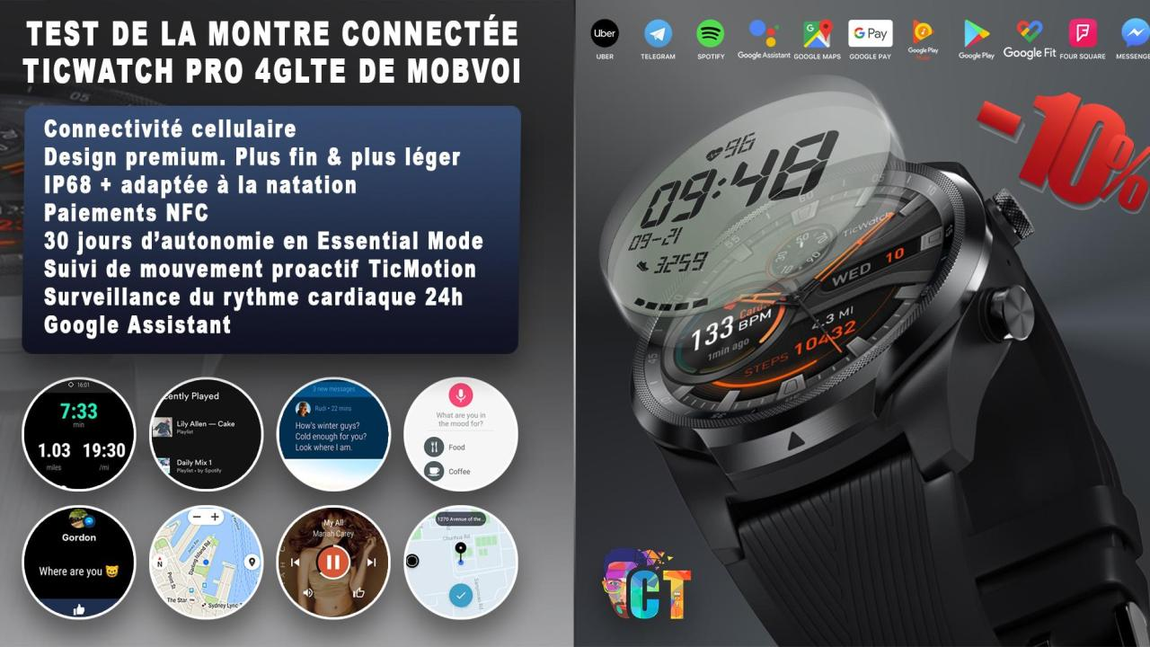 Test de la montre connectée Ticwatch Pro 4GLTE de Mobvoi