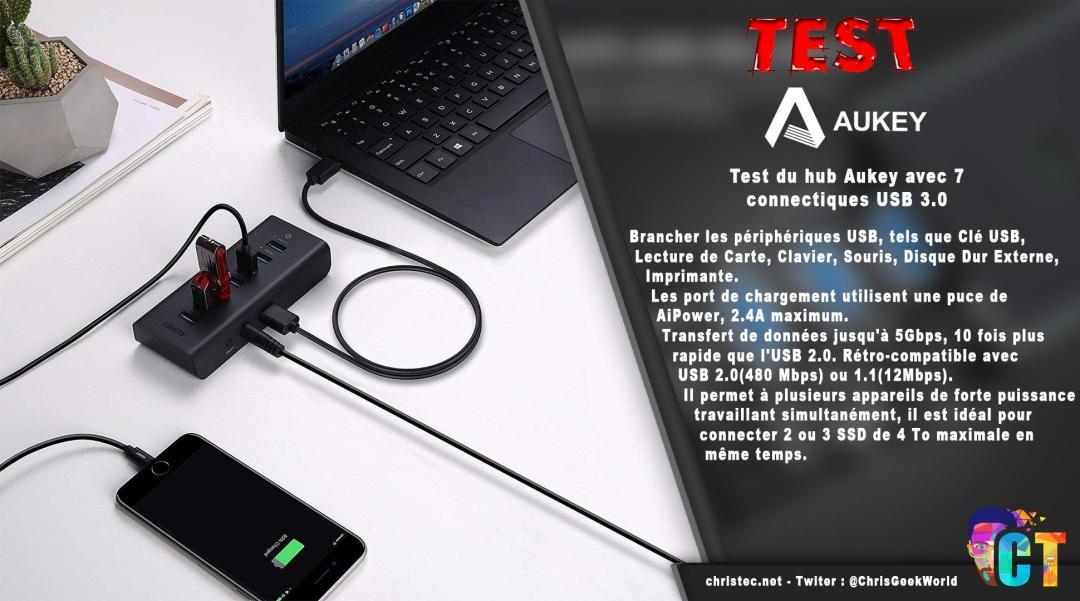image en-tête Test du hub Aukey avec 7 connectiques USB 3.0 et charge rapide