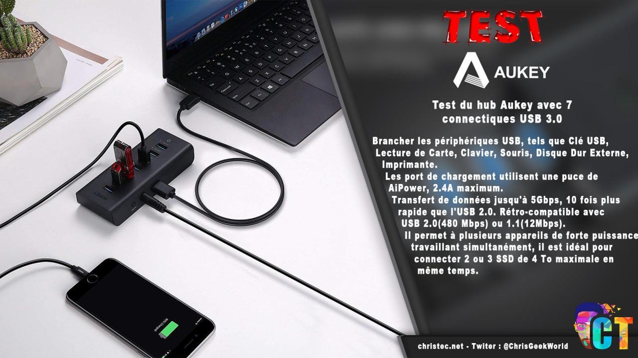 Test du hub Aukey avec 7 connectiques USB 3.0 et charge rapide