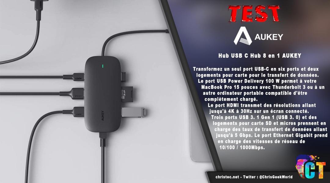 image en-tête Test Hub USB C 8 en 1 AUKEY avec HDMI 4K, RJ45, 2 USB 3.0, 1 USB 2.0, lecteur SD et TF