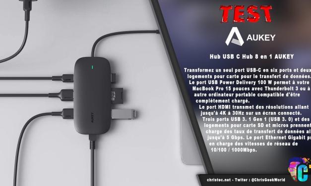 Test Hub USB C 8 en 1 AUKEY avec HDMI 4K, RJ45, 2 USB 3.0, 1 USB 2.0, lecteur SD et TF