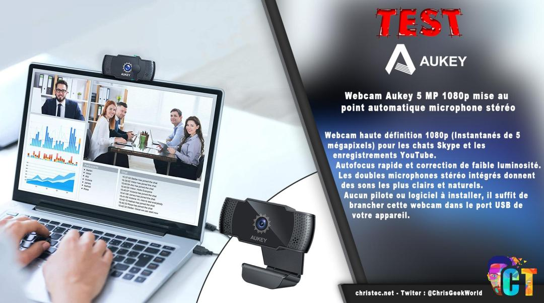 image en-tête Test de la webcam PC-LM4 de Aukey, 5 MP, 1080p avec mise au point automatique