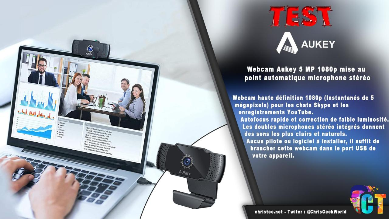 Test de la webcam PC-LM4 de Aukey, 5 MP, 1080p avec mise au point automatique