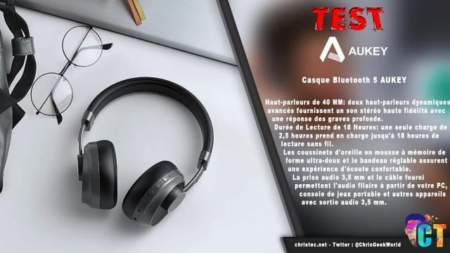 Test du casque EP-B52 Bluetooth 5 Aukey avec coussinets en cuir et mousse à mémoire de forme