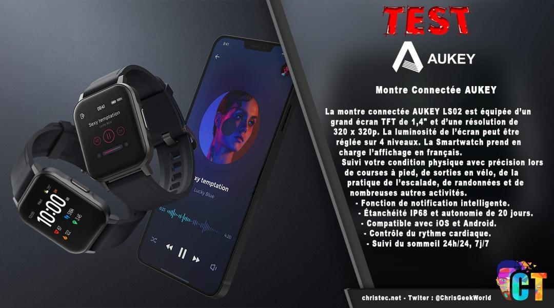 image en-tête Test de la montre connectée homme et femmes Aukey LS02