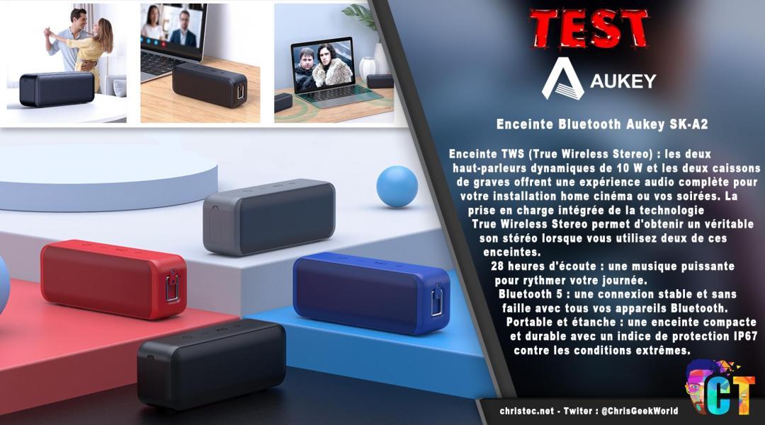 image en-tête Test de l'enceinte Bluetooth Aukey SK-A2 portable et étanche