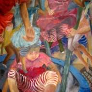 Tumult im Trampolin 120 x 100cm Acryl/LW 2014