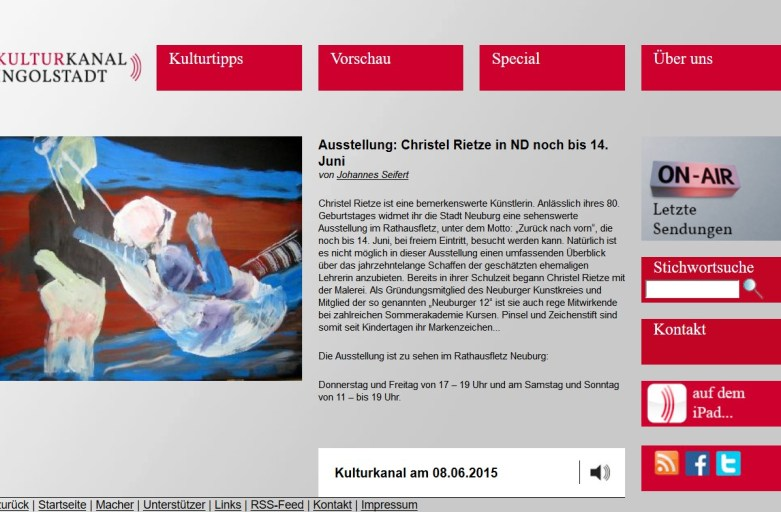 KULTURKANAL Ingolstadt: Ausstellung: Christel Rietze in ND noch bis 14. Juni
