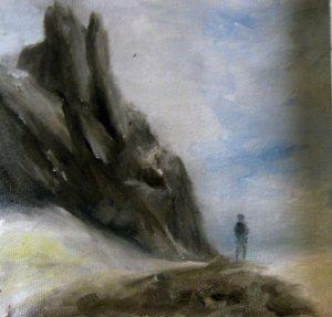 Berg und Mensch  Öl/Papier  2012