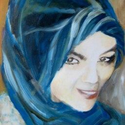 Blaues Kopftuch, 50x40, Acryl/LW, 2015