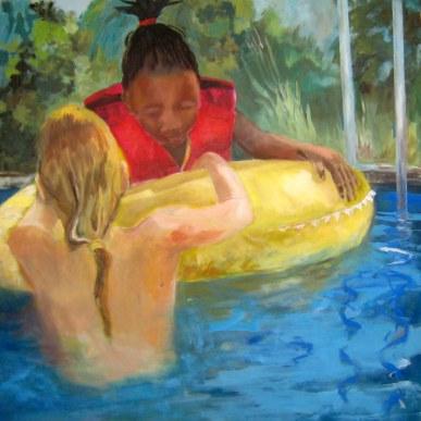Sommer daheim, 100 x 100 cm, Acryl/LW, 2016