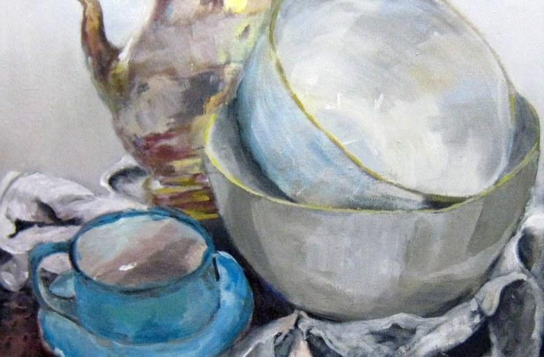 Teestunde,  65x61cm,  Acryl/Öl/LW,  2017
