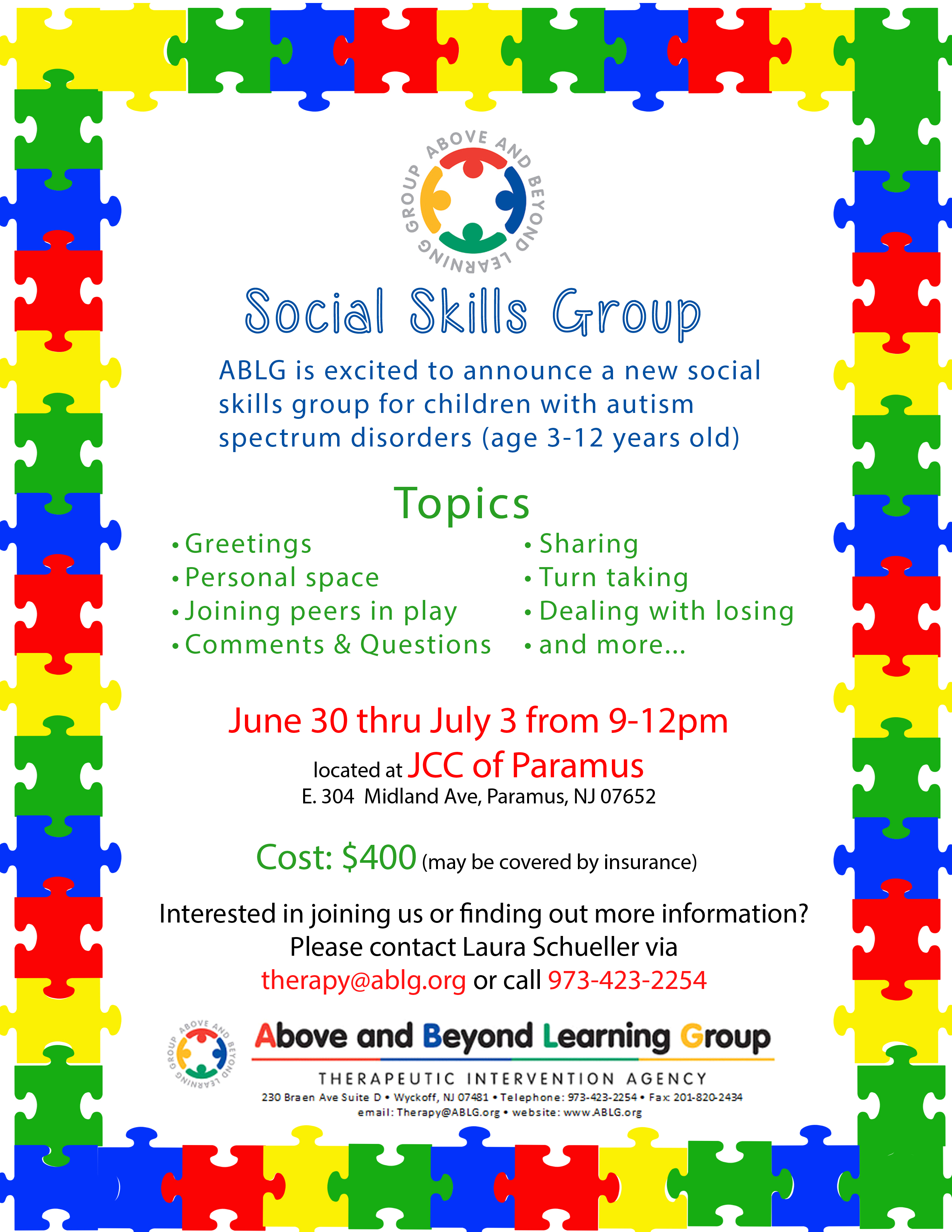 Social Skills Group For Children With Autism 3 12 Years