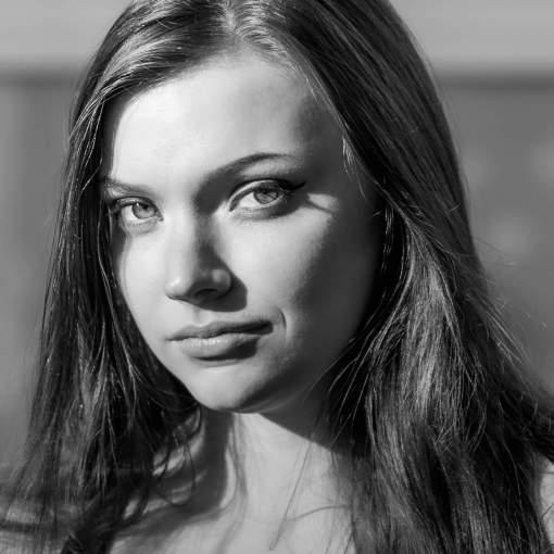 female photomodel in monochrome