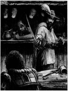 A man in a plumed hat points a saber at a person sitting at a table in a bar. There is a spilled drink on the table between them.